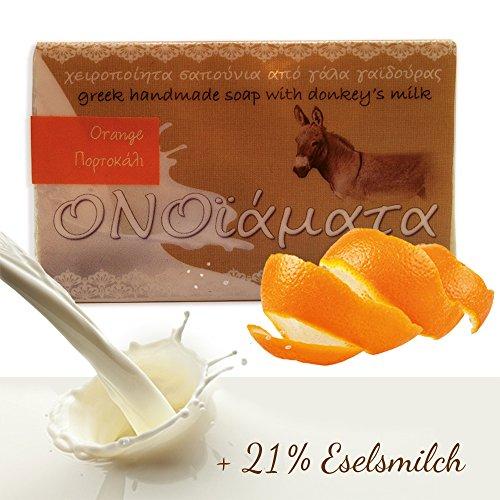 Eselsmilchseife Orangen Seife mit 21 % Eselsmilch, Olivenöl und Orange 1er Pack (1 x 100 g) – Haut Gesicht dunkle Flecken Sommersprossen natürlich bleichen aufhellen mit Hand Made Naturseife aus Griechenland (Haut Bleichen Aufhellung)
