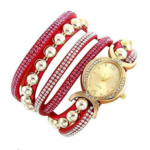 Minshao Mode Multi couches simili cuir Band Strass Perles Chaîne à quartz Bracelet montre-bracelet pour coffret cadeau pour femme rose vif
