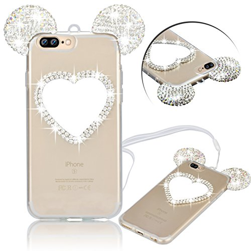 iPhone 7 Plus Hülle, Vandot Glitzer Glänzend Transparent Case für iPhone 7 Plus Handmade Schutzhülle TPU Silikon Diamant Bling Shining Glitter Weich Zurück Cover Telefonkasten Maus Mouse Ohr Ear Ultra Heart Silber