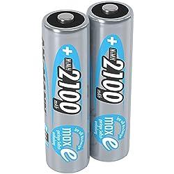 ANSMANN Akku AA Mignon 2100mAh 1,2V NiMH  - wiederaufladbare Batterien AA Akkus maxE (geringe Selbstentladung & vorgeladen) ideal für Spielzeug, Funk-Tastatur/Maus, Wii & Xbox Controller (2 Stück)