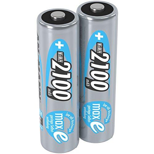 ANSMANN Akku AA Mignon 2100mAh 1,2V - aufladbare AA Batterien mit maxE für Geräte mit hohem Stromverbrauch - Batterien AA für Taschenlampe Ferndienung Spielzeug Wii & Xbox Controller uvm - 2 Stück