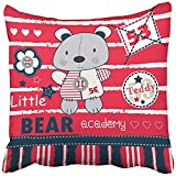 KENETOINA Fashion Funny Throw Pillows Cover Cases Square Colorful Adorable Teddy Bear Academy Cute Cartoon Animal Childish Charming Baby Cushion Pillowcases 18 x 18 Inches