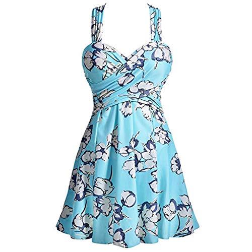 HULKY Blumendruck Badeanzug Kleid Damen Badekleid Einteiler Schwimmkleid die Monokini-Badebekleidung abnehmen Badeanzüge HalterSwi(Grün,S) -