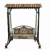#4: Woodkartindia Wooden n Wrought Iron Garden and Balcony Swing Garden/Jhula/Hammocks For Home Outdoor Garden Balcony (Portable)