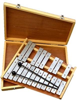 ts-ideen 6044 - Glockenspiel (20 teclas metálicas, incluye estuche de madera y 2 baquetas)