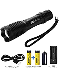 Linterna LED Linternas (900 lumens) potente zoom de Mano Resistente al Agua con Batería Recargable, con 5 Modos Perfecta para Camping, Montaismo, Senderismo y las actividades al aire libre (2 x 18650 batería recargable)