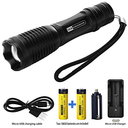 LED Taschenlampe, Zoombar Superhelle Wasserdicht Camping Lampe, Wiederaufladbare und Einstellbaren Fokus - 5 Lichtmodi - Inklusive 2 x 18650 Batterie und ladegerät für Indoor Outdoor USB Ladegerät