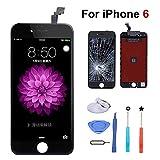 euskDE kompatibel mit iPhone 6 Display Ersatz Set Schwarz Berührungssensitiver Bildschirm Glas mit Komplettes Kostenlose Werkzeuge Für iPhone 6 Display 4.7'