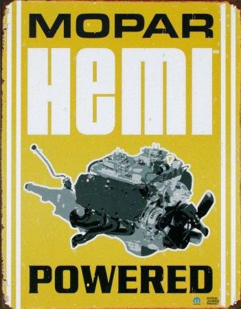 Mopar Hemi Powered Auto Motor Distressed Retro Vintage Blechschild-32x 41cm (Hemi-motor)