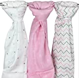 Baby Muslins for Girls - 3 Pack, Pink - Ziggy Baby 120 x 120 cm 100% Cotton Soft Washable Muslin Squares Swaddle Blanket Wraps in Chevron, Cross & Arrow Patterns for Babies Infants Toddlers Newborns