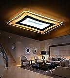 Woward Premium LED Deckenleuchte aus Plexiglas volldimmbar mit Fernbedienung; LED Deckenlampe mit Leistung von 64W bis 189W; Lichtfarbe und Helligkeit dimmbar (99W | Lampe: R-6099-2 | Lichtfarbe: dimmbar)