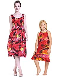 5e6a39e48 Mother   Daughter Matching Hawaii Luau Tank Elastic Dress Girl Tunic en  Puesta de Sol Rojo