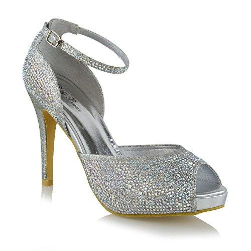 ESSEX GLAM Damen Peep Toe Braut Plattform Silber Glitzerstaub Fesselriemen Schuhe EU 41 -
