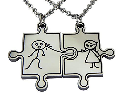 Hanessa Gravierte Puzzle Kette mit Wunsch Gravur auf der Rückseite. Partner-ketten aus Edelstahl in silber Puzzle-Teil Anhänger Schmuck für Paare Geschenk für die Freundin oder Frau