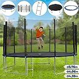 Trampolin Set | in verschiedenen Durchmesser: Ø 3,76 m - 4,39 m, Komplettset inkl. Trampolin, Netz, Wetterplane und Leiter, max Belastung 150 kg | Outdoor, Jumper, Gartentrampolin, Kindertrampolin - Ø 4,06 m