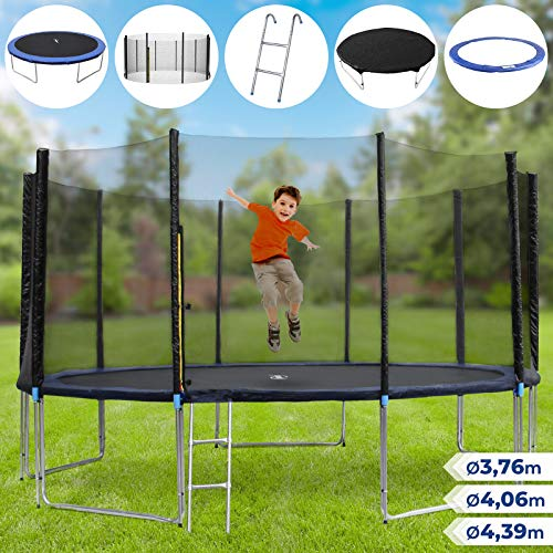 Physionics Set trampolino elastico da giardino con rete di protezione, scaletta e copertura (XL)