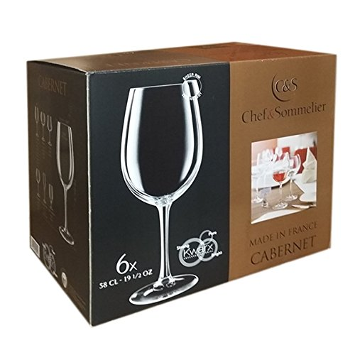 Lot de 6 verres à pied 58 cl pour vin rouge blanc - Chef et Sommelier ligne Cabernet