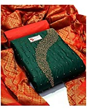 Latest Designer Cotton Moti Khatli Hand Work Salwar Suit With Banarasi dupatta