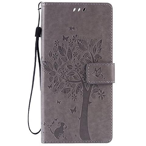 Jepson Sony Xperia C5 Ultra (6 pouces) coque , PU Cuir Portefeuille Etui Housse Case Cover , carte de crédit Fentes pour , L'utilisation de la technologie de pointe , gaufrage , Tree - Cat - Butterfly , idéal pour protéger votre téléphone ,