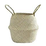 EisEyen Fischkorb Picknickkorb Spielzeugkasten Seagrass Basket Faltbarer gewebter Wäschekorb Handgemachte natürliche Blumentopf Pflanzgefäß Strohkorb