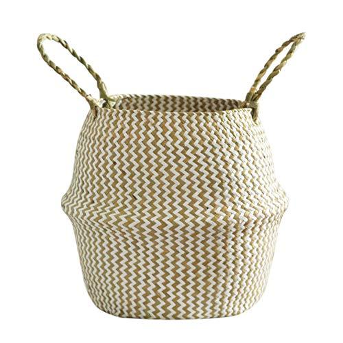 et Faltbarer Gewebter Wäschekorb Handgemachte Natürliche Blumentopf Pflanzgefäß Strohkorb Spielzeug Lagerung Veranstalter Container Wohnkultur Size M (White) ()