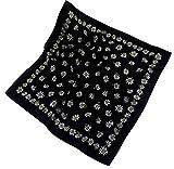 Teichmann Schwarzes Nickituch im Edelweißdesign | Weiches Polyester Satin aus Italien | 60 x 60cm | Halstuch | Karl