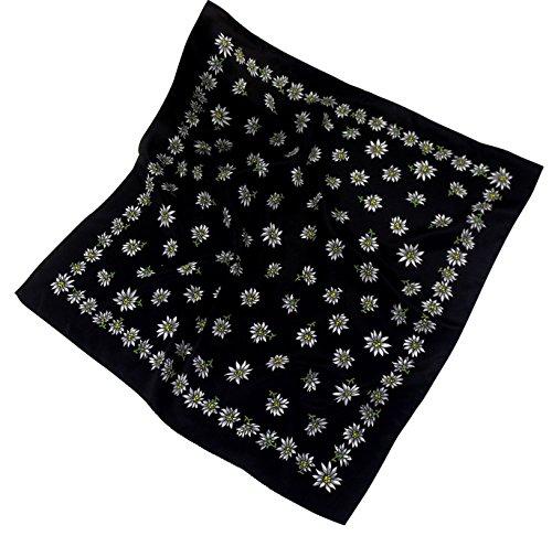 Nickituch Bandana aus weichem Polyester Satin mit Edelweißdruck direkt aus Italien (sehr groß mit 60 x 60 cm) - ideal zum Oktoberfest (Schwarz)