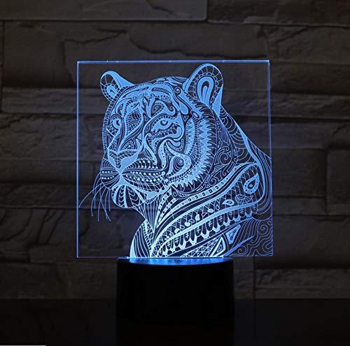 La Noche En 3D Tiger Con 7 Colores De Luz Para La Decoración Del Hogar Lámpara Increíble Visualización De Ilusión Óptica Regalo ()