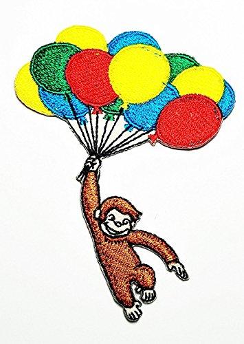 Affe mit Luftballons Cartoon bestickt Nähen Eisen auf Patch Cartoon Nähen Eisen auf bestickte Applikation Craft handgefertigt Baby Kid Girl Frauen Tücher DIY Kostüm Zubehör