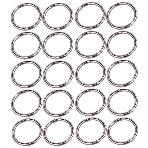 20pcs en métal ID 3.2cm joints toriques Boucles Plaqué en toile Joint torique pour ceintures Sacs Argent