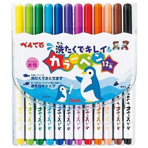 Pentel Washable Ink Color Marker Pen - 12 Color Set (japan import)