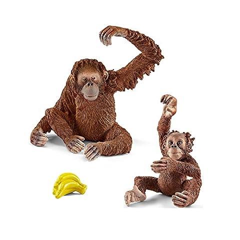Schleich Wild Life Spiel-Figuren-Set Orang Utan Weibchen mit Baby und Bananen 14775 14776 (Jungle Orangutan)