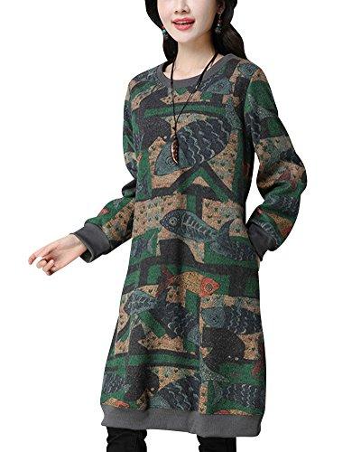 Pullover vestiti donna casuale taglie forti sciolto manica lunga rotondo collo vestito stampa addensare lungo jumper abito verde xl