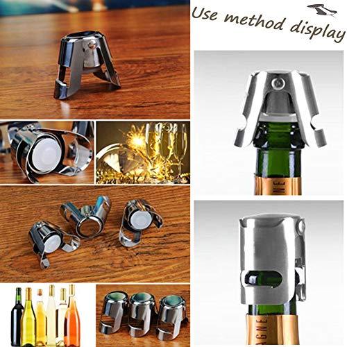 Ausyde -  Tapón para botella de champán de acero inoxidable,  3 unidades
