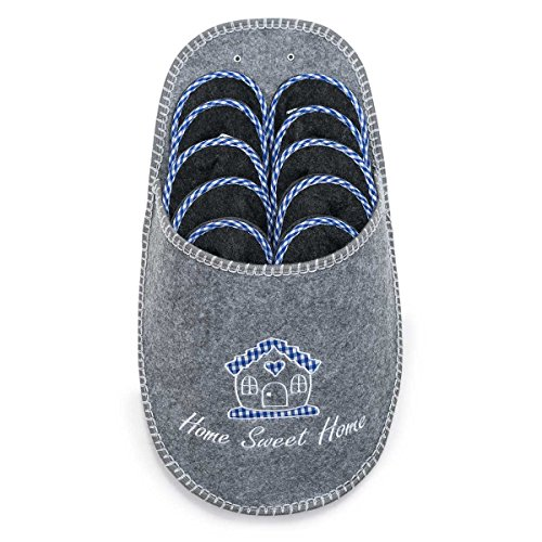 UMOI - Home Sweet Home Non Slip Made Gästepant Offeln with Elaborate Embroidery I ABS Anti-slip I Felt Slippers for Men, Women, Boys And Girls 5 Pair Available in 5 sizes