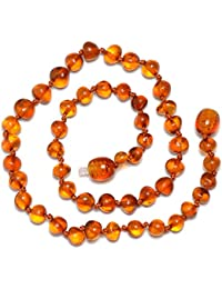 Genuine Baltic Amber Necklace - Polished Beads - Cognac color - Knotted between beads