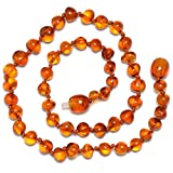 Genuine Amber Collana in ambra baltica originale - lucido - colore cognac - annodata tra Beads - 32 cm di lunghezza, cod. BJ53-UK2