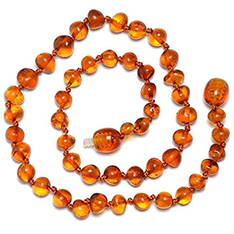 Genuine Baltic Amber Necklace - Polished Beads - Cognac color - Knotted between beads - 32cm long