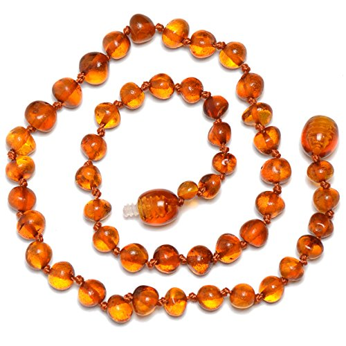 Genuine Baltic Amber Necklace – Polished Beads – Cognac color – Knotted between beads – 32cm long 51iIuntGYpL