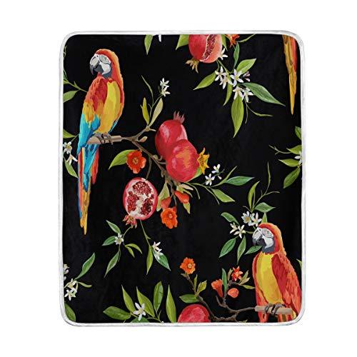 LIUBT Manta de Color Agua con diseño de Loros Tropicales, Granada, Suave,...