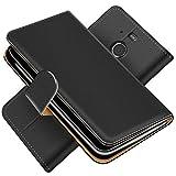 Conie Schutzhülle kompatibel mit HTC 10 Evo, Schwarze PU Lederhülle Klapphülle Etui Tasche mit Kartenfächer