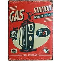 Last Chance Gas Tankstelle Blechschild Flach Neu aus USA 31x40cm mit Bset