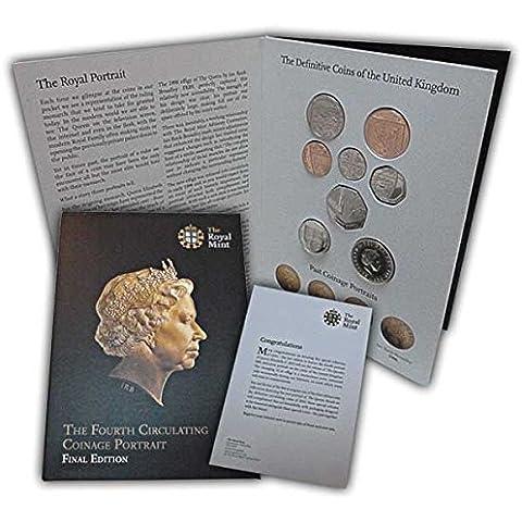 Set di monete della quarta serie in circolazione con ritratto della Regina Elisabetta II, edizione finale, fior di conio - Serie 2 Coin