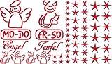 Autoaufkleber Sticker Aufkleber Set für Auto Schriftzug Engel Mo-Do Fr-So Teufe (032 hellrot)