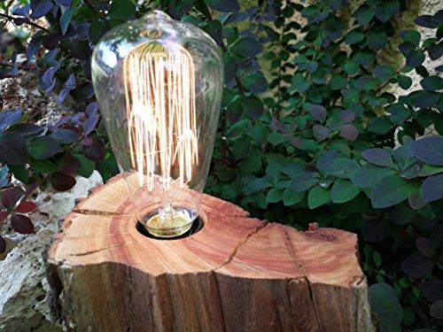 Lámpara De Madera de Castaño con Bombilla Decorativas de Filamento L