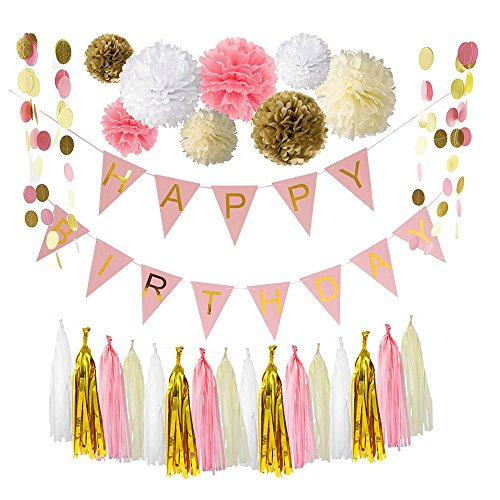 Ipalmay Pink Gold White Theme Birthday Decoration Set, Happy Birthday Banner, Variety of Tissue Pom Poms with Tissue Tassel, Glitter Polka Dot Paper Garland