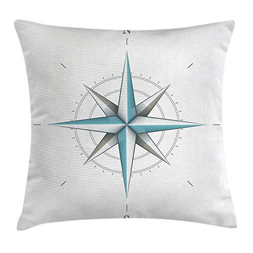 Compass Decor Throw Pillow Cushion Cover, Antique Wind Rose Diagram Cardinal Directions Axis Earth Illustration, Decorative Square Accent Pillow Case, 18 X 18 Inches, Blue Grey ()
