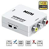 #6: AlexVyan - High Resolution - HDMI to RCA,HDMI to AV, 1080P HDMI to AV 3RCA CVBs Composite Video Audio Converter Adapter Supporting PAL/NTSC with USB Charge Cable - Compatible with Google Chrome / AnyCast / Amazon Fire Stick
