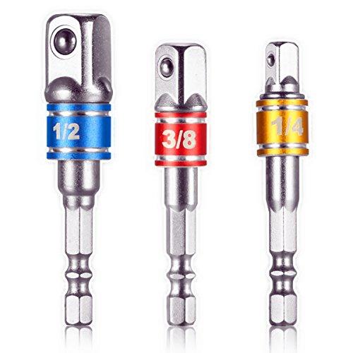 """Preisvergleich Produktbild 3Pcs Power Adapter Verlängerungs Bit Set 1/4 Zoll Sechskant Schaft zum Antrieb 1/4 """"3/8"""" 1/2 """"für Bohrer CR-V Schnellwechsel Mutter Treiber Sockel Bit Set Adapter mit Bohrfutter oder Schraube Impact Treiber verwenden"""
