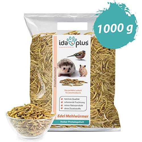Ida Plus Edel Mehlwürmer getrocknet - 1kg - Insekten Snack für Hühner, Igel, Hamster und Reptilien - Ganzjahresfutter für Wildvögel - reines Naturprodukt ohne Zusatzstoffe - Das perfekte Leckerli